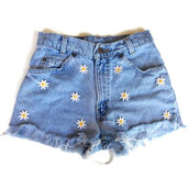 shorts,High waisted shorts,denim shorts,daisies shorts,awesomeeee,give me,other awesome stuff