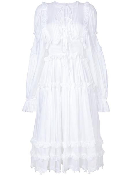 Dolce & Gabbana dress ruffle women white cotton