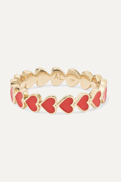 Alison Lou - Heart Stack 14-karat Gold And Enamel Ring - Heart Stack 14-karat Gold And Enamel Ring