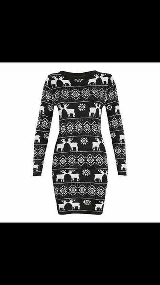 dress deer christmas black and white snowflake