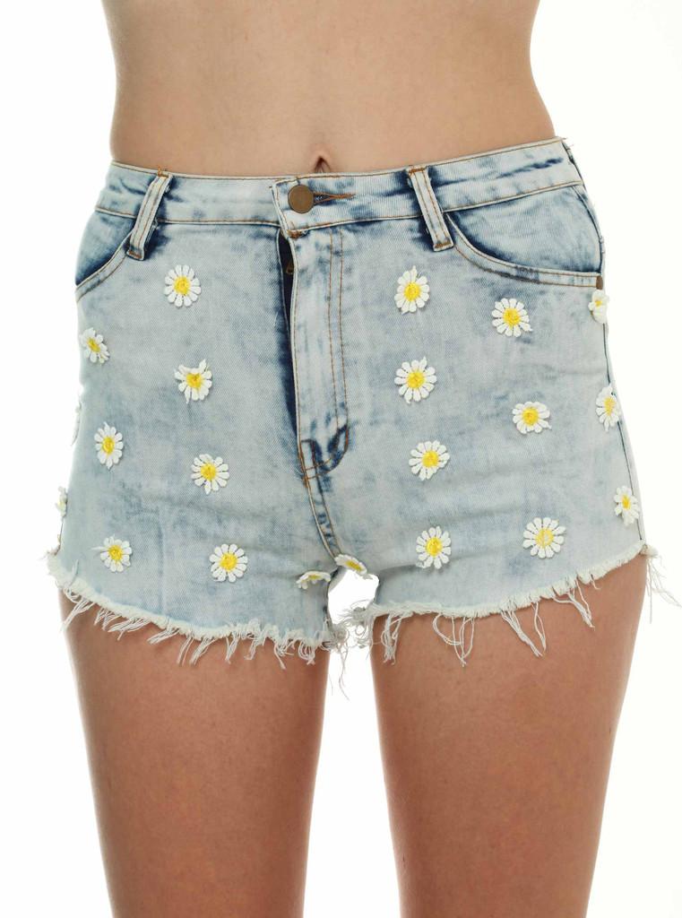 Daisy Flower Denim Shorts In Clothing At Living Royal