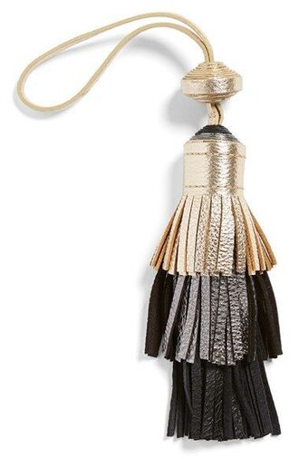 bag bag charm gold silver black keychain tassel