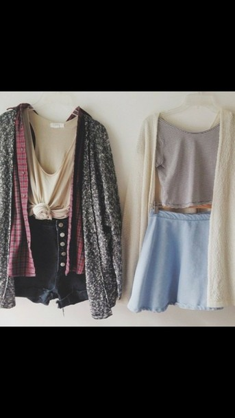 cardigan shirt skirt shorts
