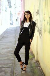 my name is glenn,blogger,jumpsuit,jacket,sunglasses,embellished leather jacket