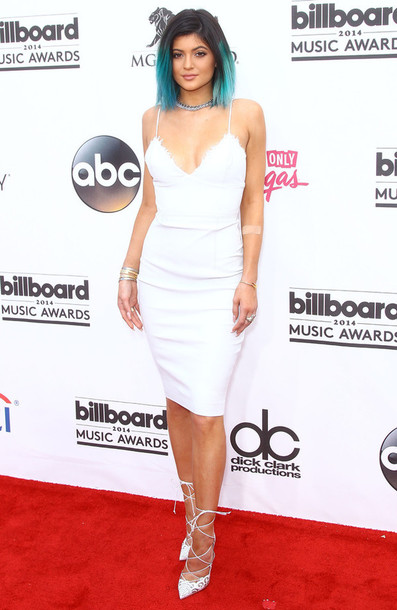 dress white dress deep v dress kylie jenner kardashians billboards white kylie jenner shoes jewels jewelry bracelets stacked bracelets kylie jenner jewelry