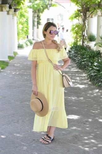 gumboot glam blogger dress bag shoes sunglasses hat off the shoulder dress midi dress yellow summer dress