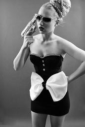 dress,black,white,bow,sexy,bodycon dress,iggy azalea