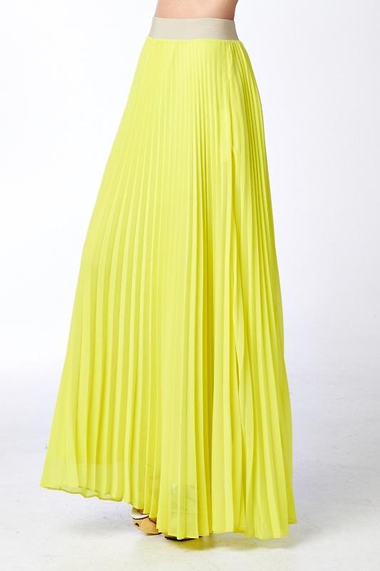 Designer Long Pleated Yellow Maxi Skirt