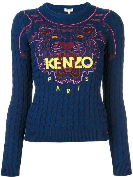 710af510 Kenzo 'Tiger' cable knit jumper in blue - Wheretoget