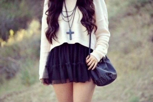 bag blouse skirt jewels sweater necklace cross white sweater indie hipster cross necklace over the shoulder purse sweater weather black skirt black purse tumblr tumblr outfit shirt dress crop top sweater