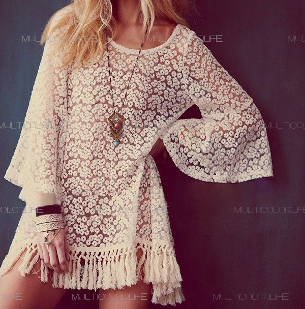 Hot Vintage Hippie Boho Bell Sleves Gypsy Festival Fringe Lace Mini Dress Tops | eBay