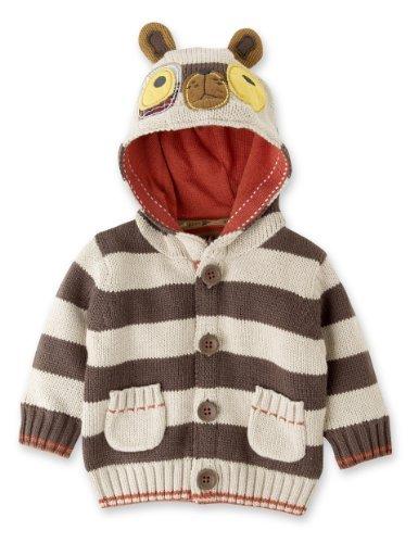 Hooded Dog Appliqué Striped Cardigan-Marks & Spencer