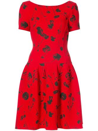 dress cherry women print wool red