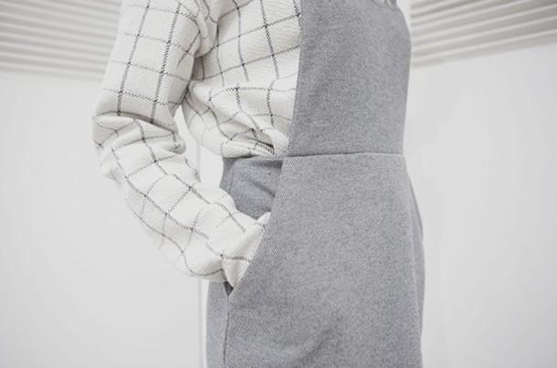 romper grid overalls minimalist grey dress checkered