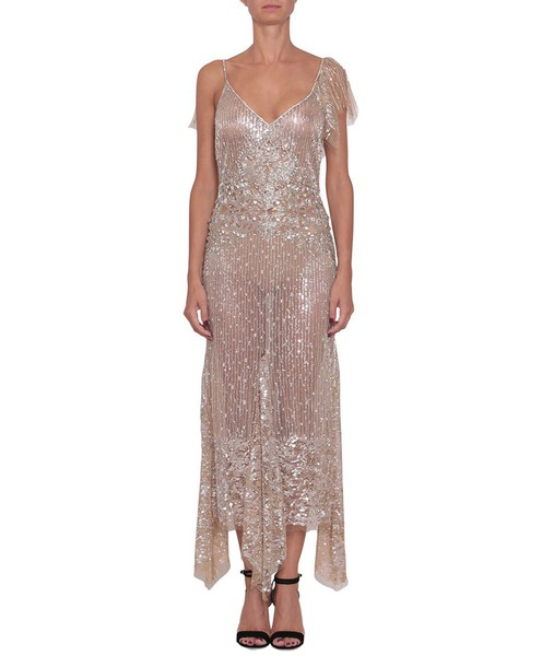 dress tulle dress embroidered beige