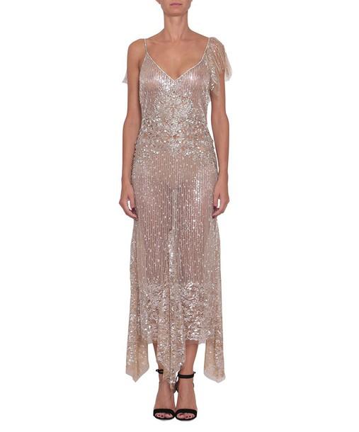 Amen dress tulle dress embroidered beige