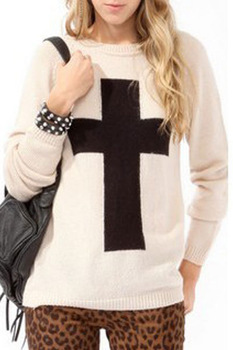White Cross Pattern Pullover Sweater LC27521 sweaters 2013 women fashion-in Pullovers from Apparel & Accessories on Aliexpress.com