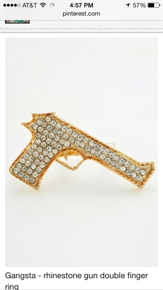 jewels ring double ring gun jewelry