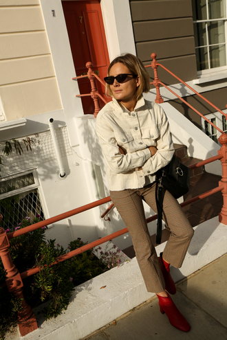 fashion me now blogger jacket pants shoes bag sunglasses t-shirt tumblr white jacket khaki khaki pants boots ankle boots red boots black bag