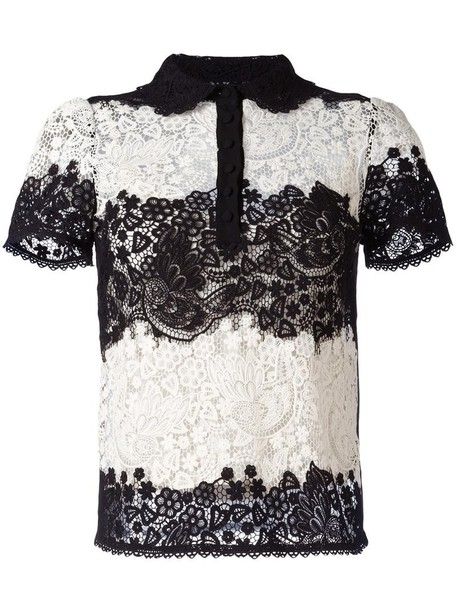 RED VALENTINO shirt women lace cotton black silk top
