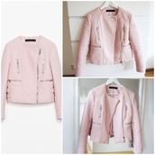 pastel,pastel pink,pastel jacket,baby pink,light pink,girly,leather jacket,coat,jacket