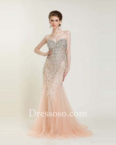 Hollywood style blush sweetheart sequins mermaid prom dress wdl5208