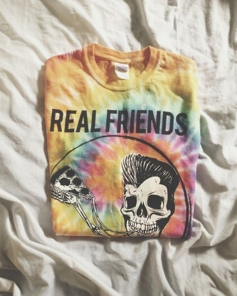 shirt friends real skeleton pizza real friends tie dye indie