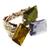 Браслет с тремя цветными кристаллами без оправы. Позолота, баварское стекло