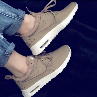 nike badge nude nike running shoes fashion comfy cute sneakers air max suade shoes brown tan nike air max thea nike shoes shorts shoes