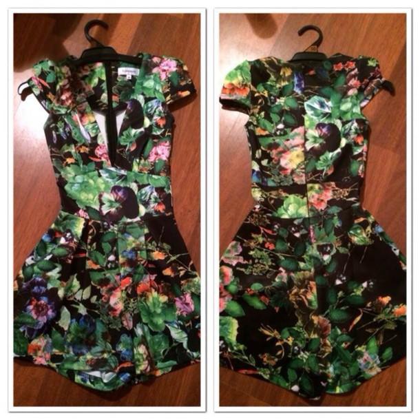 dress romper flowers black v nec
