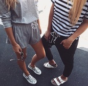 shoes,pants,top,stripped top,stripes,t-shirt,joggers,summer,summer top,style,shirt,shorts,jumpsuit,t-shirt strpe black white,print,sneakers,elegant,spring,vans slip ons,animal print,vans,black and white shoes,romper,grey romper,streetstyle,summer outfits,urban