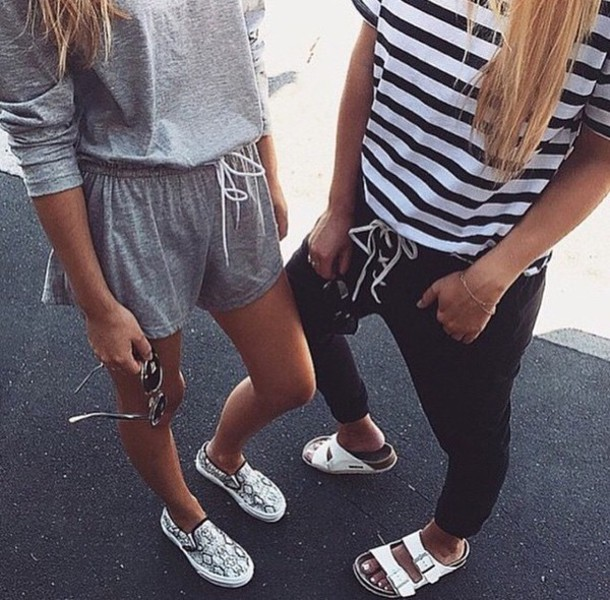 shoes, pants, top, stripped top, stripes, t,shirt, joggers