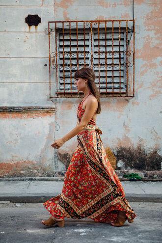 dress tumblr printed dress maxi dress sandals mules summer outfits shoes skirt maxi skirt long skirt matching set crop tops halter neck