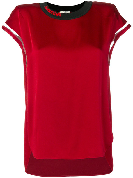 Fendi blouse women silk red top