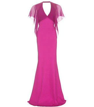 gown chiffon silk purple dress