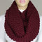 Hand knitted burgundy wine infinity scarf christmas gift neck warmer -escherpe