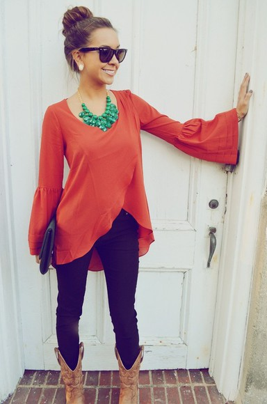 shirt orange shirt flowy top top jeans boots necklace