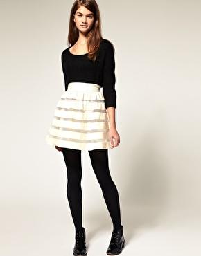 ASOS | ASOS  Full Skirt in Velvet and Mesh Stripe at ASOS