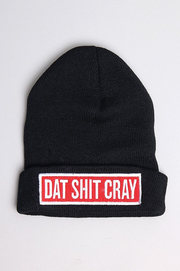 hat beanie black dat shit cray