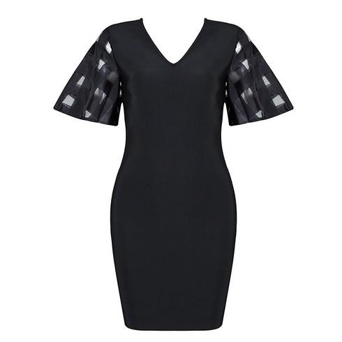 Mesh Sleeve Bandage Dress Black
