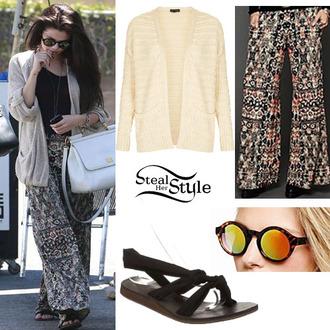 pants loose pants loose floral pants floral floral pants knitted cardigan round sunglasses sunglasses selenas style selena gomez