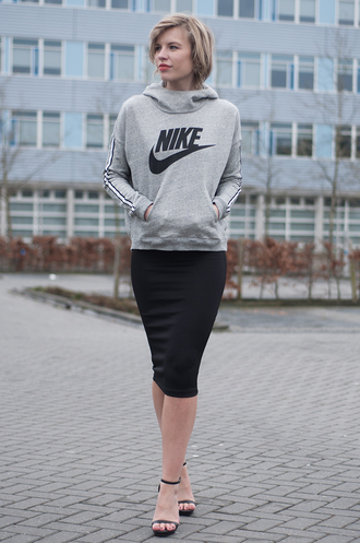 sweater grey sweater black pencil skirt beige sandals blogger