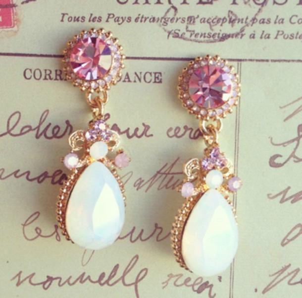 jewels earrings diamonds cute earrings cool earrings cute earring cool earring white earring jewelry diamond look pretty# earrings fashion pink and white pearl cute girly