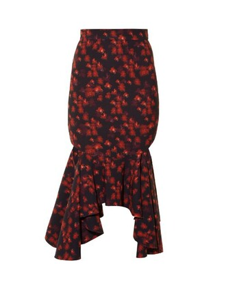 skirt floral print red