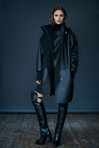 coat winter jacket classy black coat black boots boots knee high boots black skirt