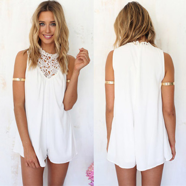 3baaeed9b06f98 jumpsuit fashion clothes classy women elegant cool beautiful trendy lace  white girl summer pretty streetstyle cute