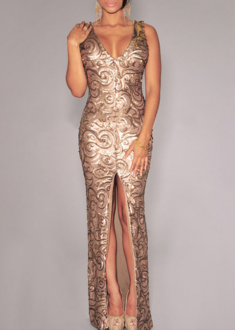 Sequins Split Maxi Bodycon Dress|Disheefashion