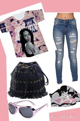 shirt aaliyah shirt jordan shoes bag jeans pants shoes sunglasses t-shirt tank top top