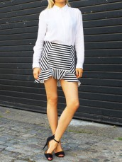 Black and White Striped Skirt by Selects - Glassworks Studios