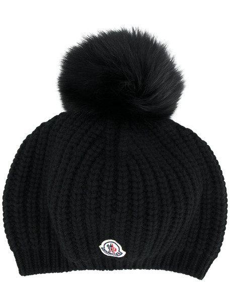 moncler fur fox women hat black wool